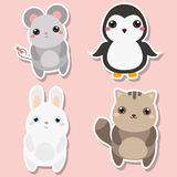 Cute kawaii animals stickers set. Vector illustration. Mouse, penguin, cat, rabbit. Children style, isolated design elements for kids. Icons Royalty Free Stock Photo