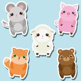 Cute kawaii animals stickers set. Vector illustration. Mouse, pig, sheep, fox, bear. Children style,  design elements for kids. Icons Stock Image