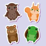 Cute kawaii animals stickers set. Vector illustration. Owl, squirrel bear, turtle. Children style, isolated design elements for kids. Icons Stock Image