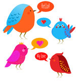 Cute kawaii birds with speech bubbles. Vector illustration, design elements, stickers. Cute kawaii birds with speech bubbles. Funny birds vector illustration Royalty Free Stock Images