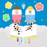 cute kawaii bookworm boy and girl learning back to school concept flying with colorful rocket in space,sky with cloud background stock illustration
