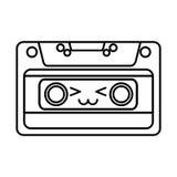 Cute kawaii cartoon cassette Royalty Free Stock Photos