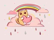 Cute kawaii cartoon cat with heart on pink clouds vector illustration Stock Photos