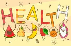 Cute kawaii cartoon fruits carry health lettering. Healthy food products: watermelon, banana, mandarin, apple, pineapple, lemon, p Stock Photo