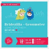 Cute kawaii Cartoon Wedding Invitation. Wedding Invitation Template with Cute kawaii groom monster and bridezilla character Stock Photography