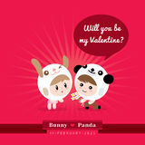 Cute kawaii characters with Valentine's concept illustration. Cute kawaii couple character in rabbit and panda costume with Valentine's concept  vector Royalty Free Stock Photos