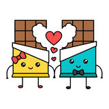 Cute kawaii chocolate couple, valentine concept Stock Images