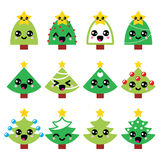 Cute Kawaii Christmas green tree with star icons set vector illustration