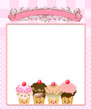 Cute kawaii cup cake Royalty Free Stock Photography