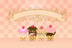 Cute kawaii cup cake Stock Photo