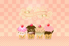 Cute kawaii cup cake Royalty Free Stock Images