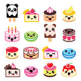 Cute Kawaii dessert - cake, macaroon, ice-cream icons Royalty Free Stock Photo