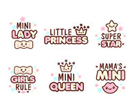 Cute Kawaii emoticons with baby girl objects Royalty Free Stock Image