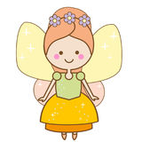 Cute kawaii fairy character. Winged pixie princess in beautiful dress. Cartoon style, girls kids stickers. Children illustration, scrapbook element Stock Images