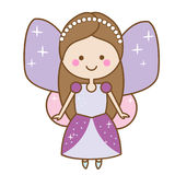 Cute kawaii fairy character. Winged pixie princess in beautiful dress.. Cute kawaii fairiy character. Winged pixie princess in beautiful dress. Cartoon style Royalty Free Stock Photos