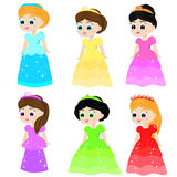 Cute kawaii fairy tale princess in colorful dresses. Girls in queen costumes. Cartoon style vector collection Royalty Free Stock Photography