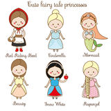 Cute kawaii fairy tales characters. Snow white, red riding hood, rapunzel, cinderella and other princess in beautiful dresses. Car. Toon style. Children stickers Royalty Free Stock Photography