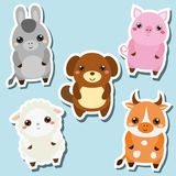 Cute kawaii farm animals stickers set. Vector illustration. Pig, dog, sheep, cow. Cute kawaii farm animals stickers set. Vector illustration. Pig, dog, donkey Royalty Free Stock Photography