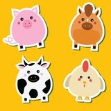 Cute kawaii farm animals stickers set. Vector illustration. Pig, horse, cow, hen. Children style, isolated design elements for kids vector illustration