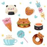 Cute Kawaii food cartoon characters set, desserts, sweets, fast food vector Illustration on a white background. Cute Kawaii food cartoon characters set, desserts royalty free illustration
