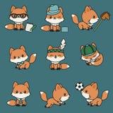 Cute kawaii foxes. Vector icons set stock illustration
