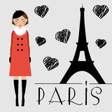Cute kawaii girl and Eiffel tower silhouette vector illustration. Smiling woman in Paris Stock Photography