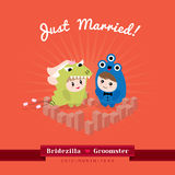 Cute kawaii groom monster and bridezilla character. Standing in the heart shape city Royalty Free Stock Images