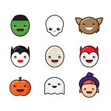 Cute Kawaii Halloween Icons Set. Funny Monster Stock Photography