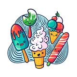 Cute kawaii ice cream set in doodle style. May be used as sticker, badge, print or in another project. Vector illustration royalty free illustration