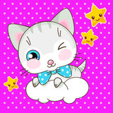 Cute kawaii kitty on the cloud Stock Photos