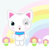 Cute kawaii kitty. Cute kawaii white kitty on a rainbow background with a flowers Stock Images