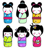 Cute kawaii kokeshi dolls stickers set. Traditional japanese dolls. hand drawn style icons royalty free illustration