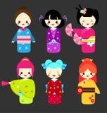 Cute kawaii kokeshi dolls. Traditional japanese dolls. Girls in kimono Royalty Free Stock Image