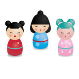 Cute kawaii kokeshi set. Traditional japanese dolls in realistic style. Stickers, design elements Royalty Free Stock Images