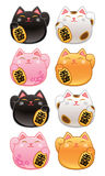 Cute Kawaii Maneki Neko Lucky Cats Stock Images