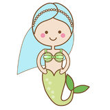Cute kawaii Mermaid character in Cartoon Style. vector illustration. Fairy undine princess. Kids vector illustration Royalty Free Stock Images