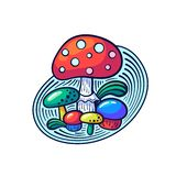 Cute kawaii mushrooms in doodle style. May be used as sticker, coloring, badge, print or in another project. Vector illustration stock illustration