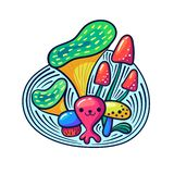 Cute kawaii mushrooms and monsters in doodle style. May be used as sticker, coloring, badge, print or in another project. Vector illustration royalty free illustration