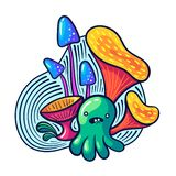 Cute kawaii mushrooms and monsters in doodle style. May be used as sticker, coloring, badge, print or in another project. Vector illustration stock illustration