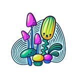 Cute kawaii mushrooms and monsters in doodle style. May be used as sticker, coloring, badge, print or in another project. Vector illustration vector illustration