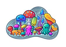 Cute kawaii mushrooms and monsters set in doodle style. May be used as sticker, coloring, badge, print or in another project. Vector illustration royalty free illustration