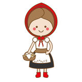 Cute kawaii Red Riding Hood character in Cartoon Style. vector illustration Stock Image