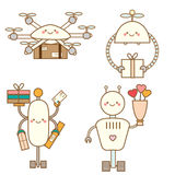 Cute kawaii robots character set. Delivery drones. Androids deliver post boxes and flowers. Vector illustration,  design e. Cute kawaii robots character set Stock Photos