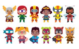 Cute kawaii set superheros colorful isolated. Vector Cute kawaii set superhero colorful isolated Stock Photography