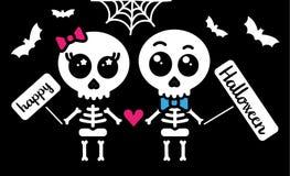 Cute kawaii skeleton love couple boy and girl happy halloween card. Vector stock illustration