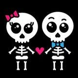 Cute kawaii skeleton love couple boy and girl. Vector stock illustration