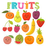 Cute kawaii smiling fruits. Healthy style collection Stock Image