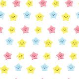 Cute kawaii stars. Background for kids, babies and children design with smiling sky characters Stock Photo