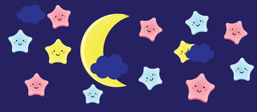 Cute kawaii stars and crescent. Background for kids, babies and children design with night sky characters Stock Photography