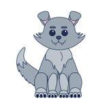 Cute kawaii style dog or grey wolf sitting cartoon Royalty Free Stock Image